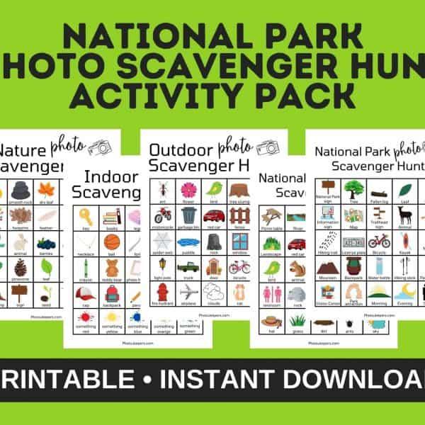national park photo scavenger hunt activity pack