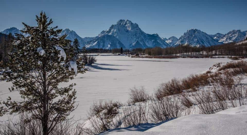 frozen Oxbow Bend at Grand Teton National Park