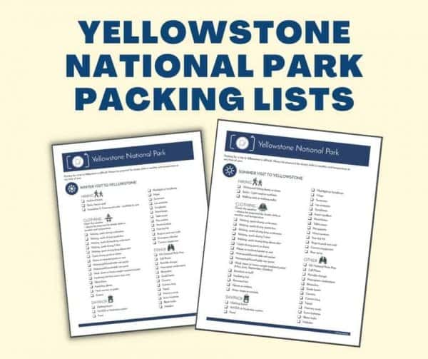 yellowstone national park packing lists