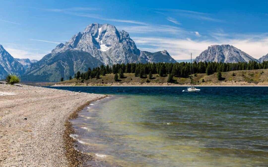 Grand Teton in the summer at Jenny Lake