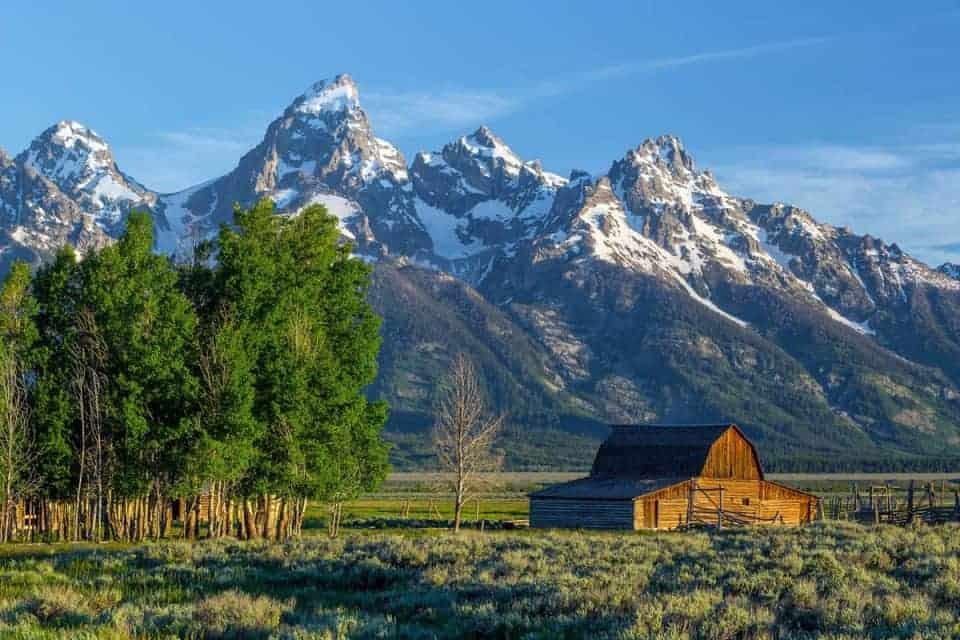 Grand Teton in the summer at the Mormon Row barn