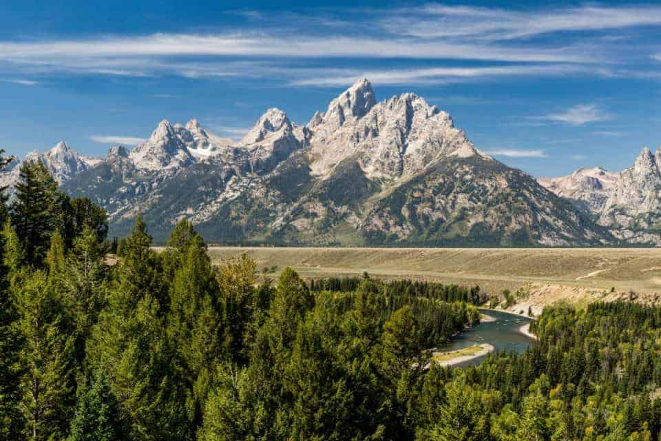 Grand Teton in the summer at Snake River Overlook