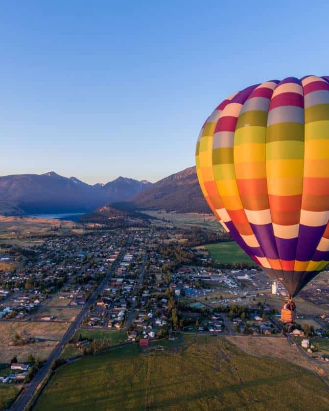 hot air ballooning over Park City Utah in the summer