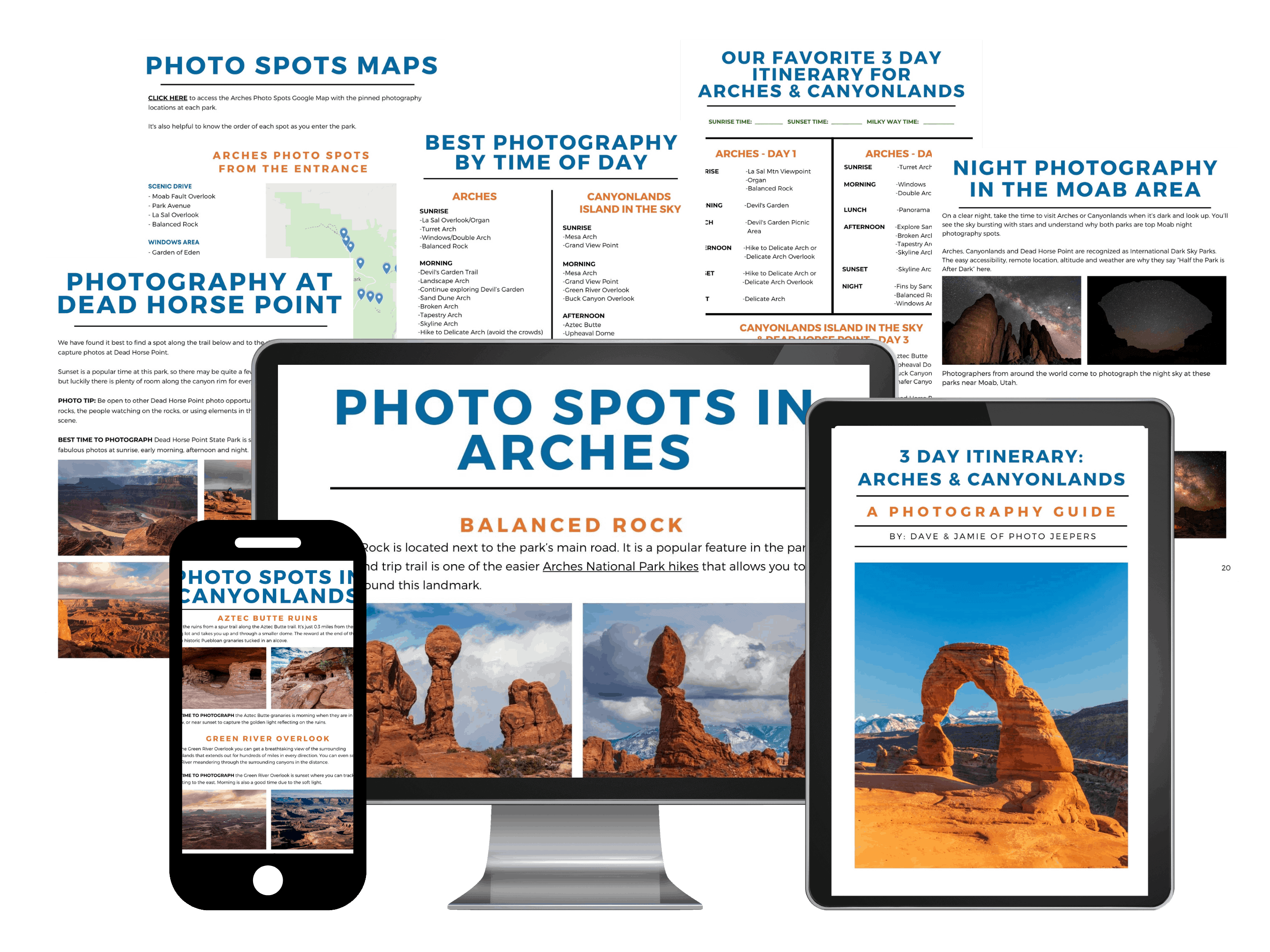 Arches Canyonlands photo guide on a phone computer and tablet