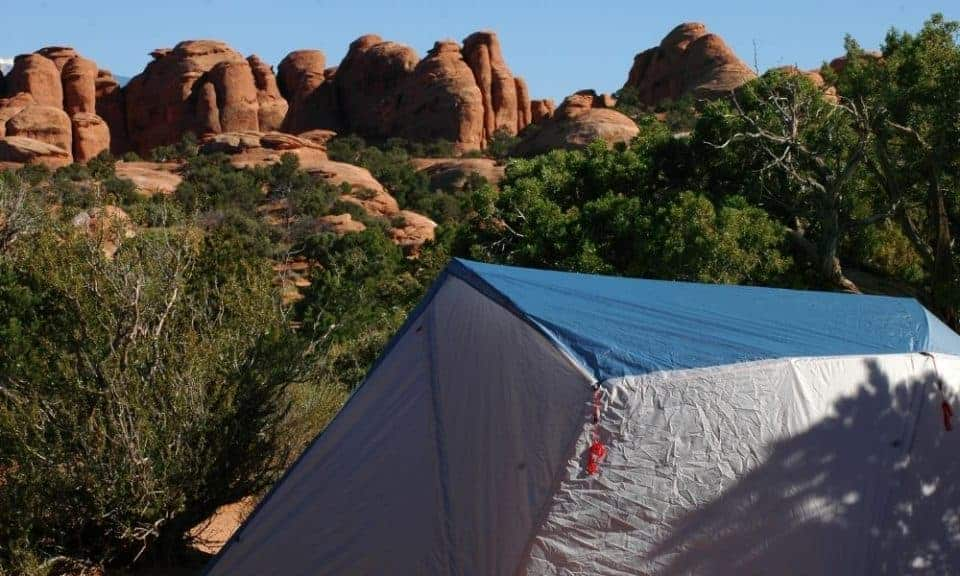 tent camping at Arches National Park