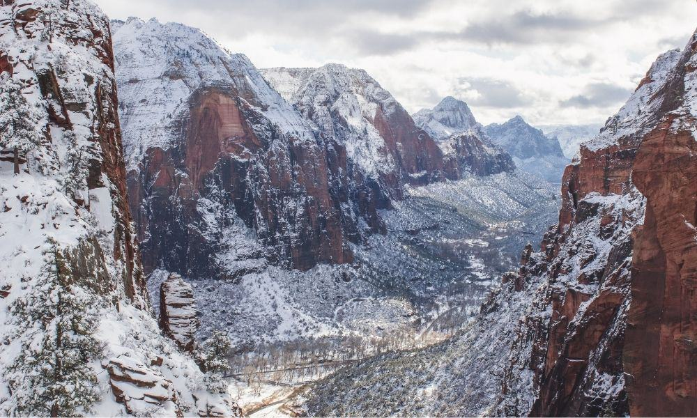 zion national park with snow