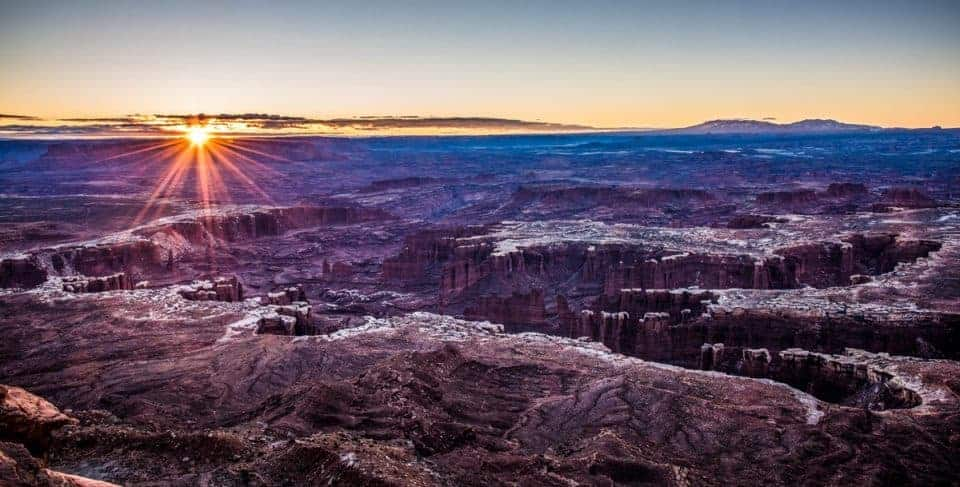 sunrise at Grand View Point Canyonlands
